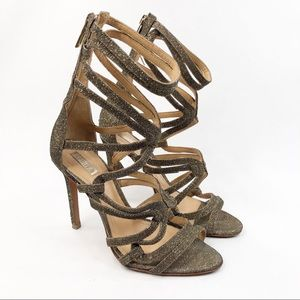 Schutz Cage Gold Strappy Sandals Heels